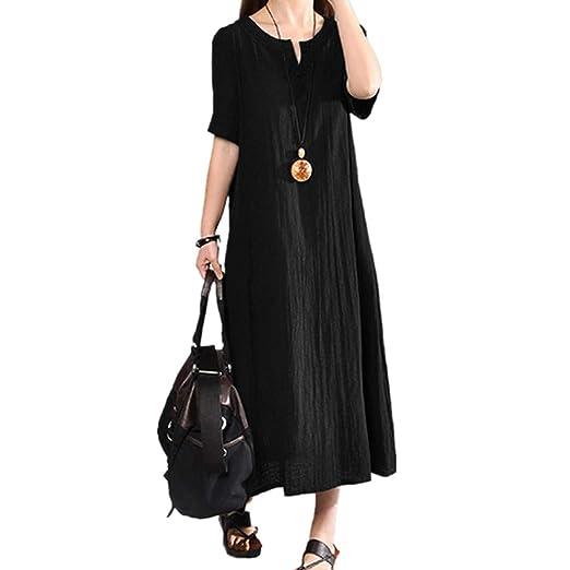 ff578702762 Amazon.com: Usstore Women Cotton Linen Boho Straight Dress Casual Plus Size  Loose V-Neck Short Sleeve Soft Breathable Maxi Dress: Clothing