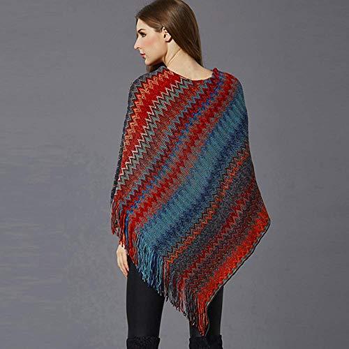col en simple Pull à Top Taille V Womens femmes Zhrui de Couleur unique Rouge Cloak mousseline porter et à pour soie facile les en Tassels Size Plus Gris PXq76