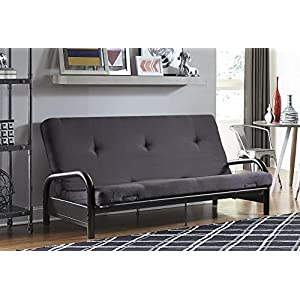 "DHP Black Metal Arm with 6"" Futon Mattress, Converts From Sofa to Full Size Sleeper, Gray"