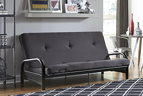 DHP Black Metal Arm Futon Frame with a 6 inch futon mattress, Converts from Couch to Full Size Sofa Bed – Grey