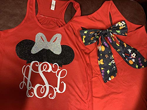 Handmade Disney Shirt with Bow Halloween Minnie Mouse with Initials Not So Scary Mickey Halloween Party]()
