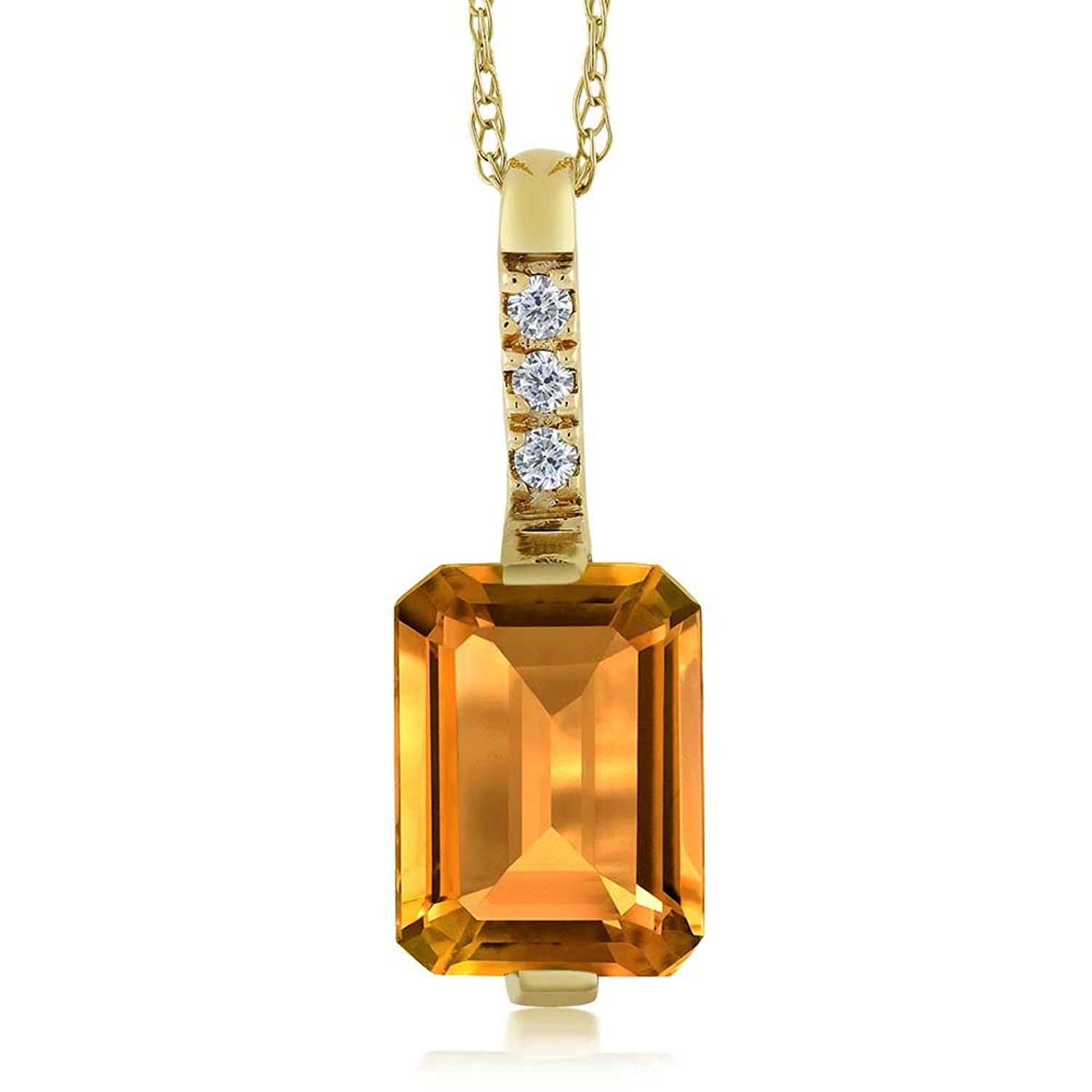 """18K Yellow Gold Yellow Citrine and Diamond Pendant with 18"""" Chain"""