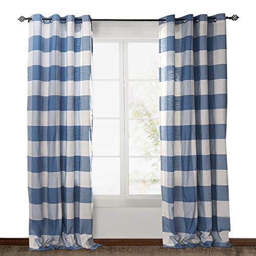 (ChadMade Eco-friendly Premium Country Classic Check Plaid Cotton Nickel Grommet Eyelet Window Curtain Panel Drapes (1 Panel) Blue and White 50Wx84L Inch)