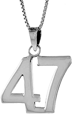 2mm Curb Chain Sterling Silver Number 47 Necklace for Jersey Numbers /& Recovery High Polish 3//4 inch