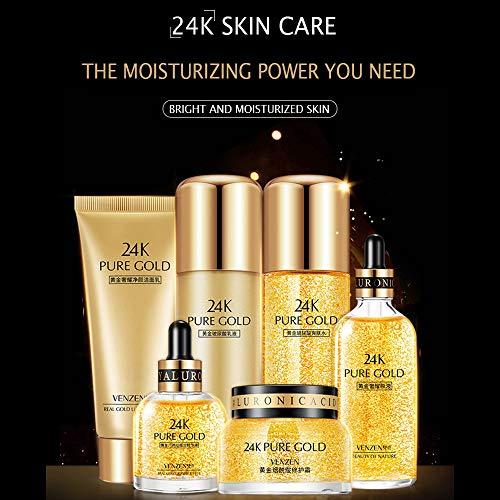 VENZEN 24K Pure Gold Hyaluronic Acid Skin Care Luxury Effect Cream Essence Toner Cleanser Moisturizing Vitamin E 6PCS GIFT SET 100g + 100ml + 100ml + 30ml + 100ml +50g