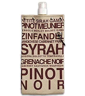Red Wine Design Water,Wine and Beverage Canvas Reusable Flask Bottle & Tote Carrier Holds 750ml/26oz