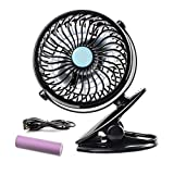 GES Clip on Fan and Desk Fan 2 in 1 Rechargeable Operated Fan 360 Degree Rotation Adjustable Speeds for Baby Stroller,Car,Office,Home,Outdoor,Traveling,Camping(USB & Battery Powered Included)