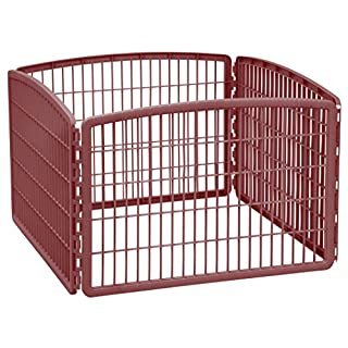 "IRIS USA 24"" Exercise 4-Panel Pet Playpen without Door, Brown"