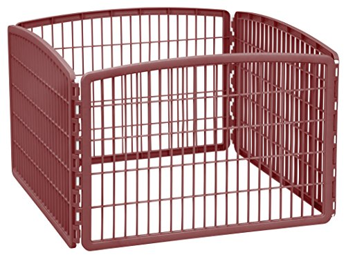 IRIS 24'' Exercise 4-Panel Pet Playpen without Door, Brown