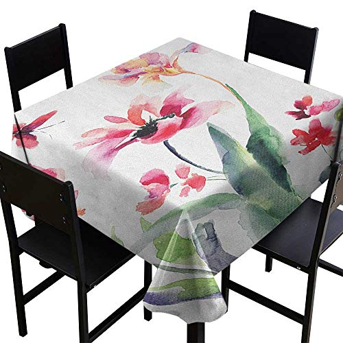 (SKDSArts Water Resistant Tablecloth Floral,Watercolor Pastel Toned Flourish Blooms Botanical Beauty Boho Harvest Nature Picture, Multicolor,W60 x L60 for Cards)