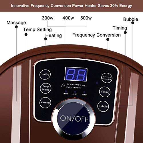 Foot Spa Bath Massager with Heat, 16 Pedicure Spa Motorized Shiatsu Roller Massaging Acupuncture Point, Frequency Conversion, O2 Bubbles, Adjustable Time & Temperature, LED Display