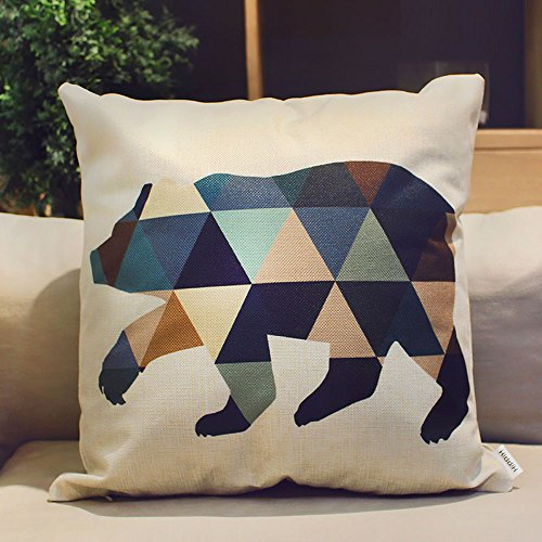 HIPPIH 4 Packs Square Pillow Cover - 16 X 16 Inch Decorative Throw Pillowcase, Geometric Animals by HIPPIH (Image #4)