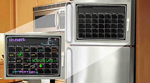 Magnetic Refrigerator Calendar Dry Erase Black Chalkboard Board Design | Monthly for Kitchen Fridge| Use w/ Wet Wipe Fluorescent or Neon Markers … Photo #3