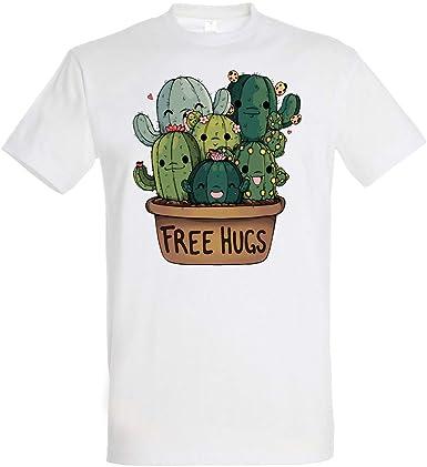 Pampling Camiseta Soft Hugs (Talla M) - Cactus - Free Hugs - 100% Algodón - Serigrafía: Amazon.es: Ropa y accesorios