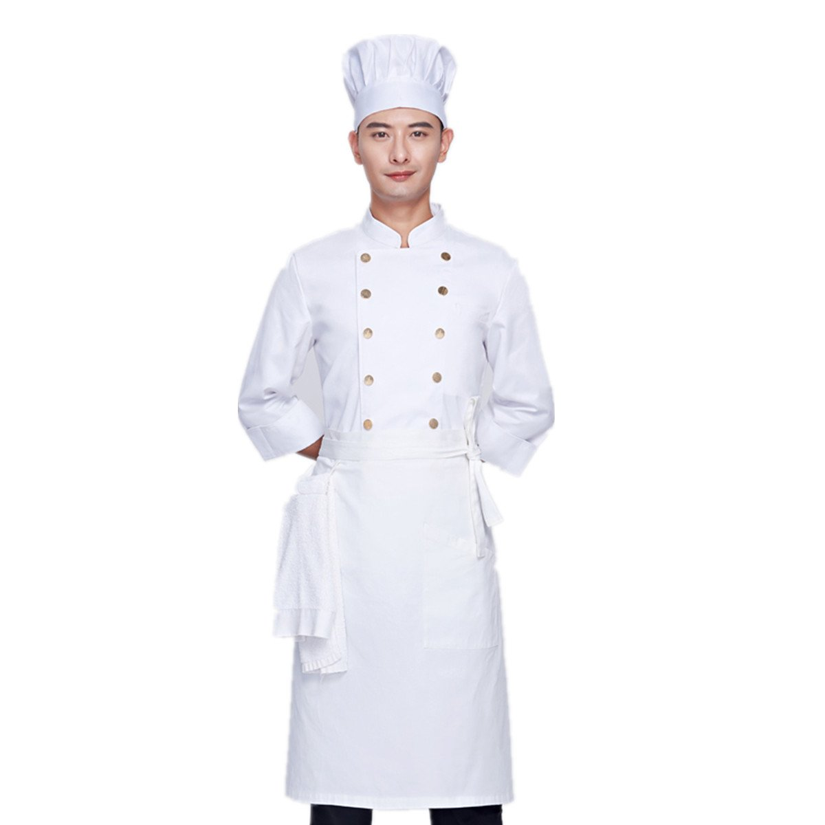 XINFU Unisex Chef's Uniform Long Sleeve Pure Cotton Chef Coat Restaurant Men Women Kitchen White Coat With Apron Hat