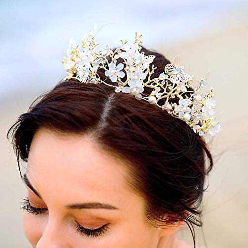 - Nicute Wedding Bride Flower Crowns and Tiaras Gold Butterfly Bridal Princess Crown Crystal Pearl Headpieces for Women and Girls
