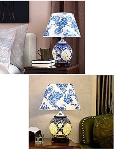 TXY Ceramic Table Lamp with Blue and White Base for Living Room Bedroom Desk Side Coffee Dressing Table