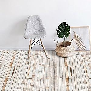 ZYY Self Adhesive Floor Tiles DIY Sticker White Wood Grain Kitchen Bathroom Wall 20cm300cm