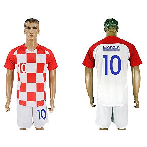 2018 Men's Croatia #10 Short Sleeves Home Soccer Jersey (White/Red)(M)