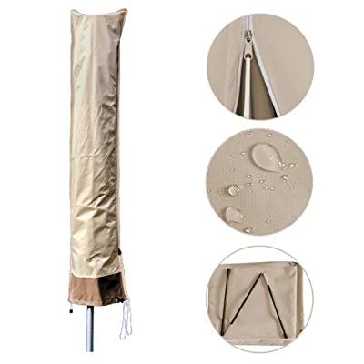 Parasol Waterproof Umbrella Cover Beige and Coffee Color, Outdoor Umbrellas Cover Patio Market Oxford Fabric Umbrella Covers with Zipper, Fits 7-11 Ft: Kitchen & Dining