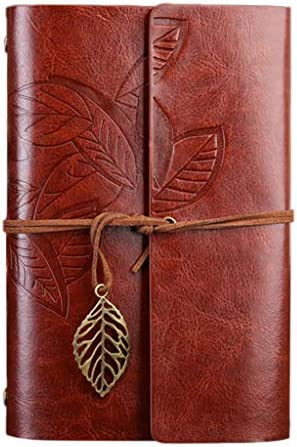 ruiruiNIE Leaves Leather Writing Journal, Nachfüllbares Travellers Notebook , Art Sketchbook