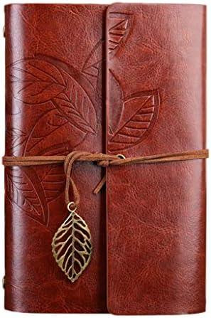 ruiruiNIE Leaves Leather Writing Journal, Nachfüllbares Travellers Notebook , Art Sketchbook