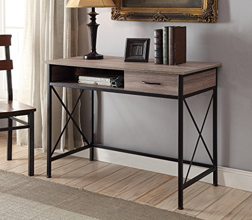 Reclaimed Grey Oak Wood Finish Black Metal X-Frame Computer Desk PC Laptop Table Workstation Home Office with Drawer OR Console (Black Finish Metal Computer)