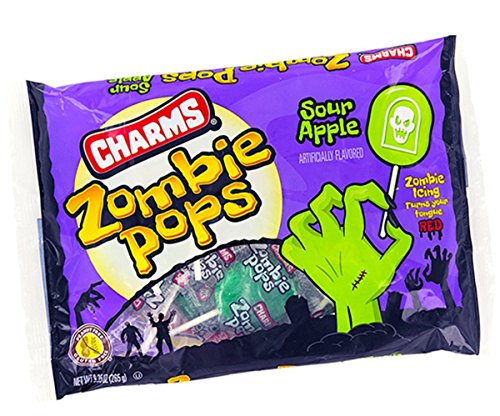 (Halloween Charms Sour Apple Candy Zombie Pops, 9.1)