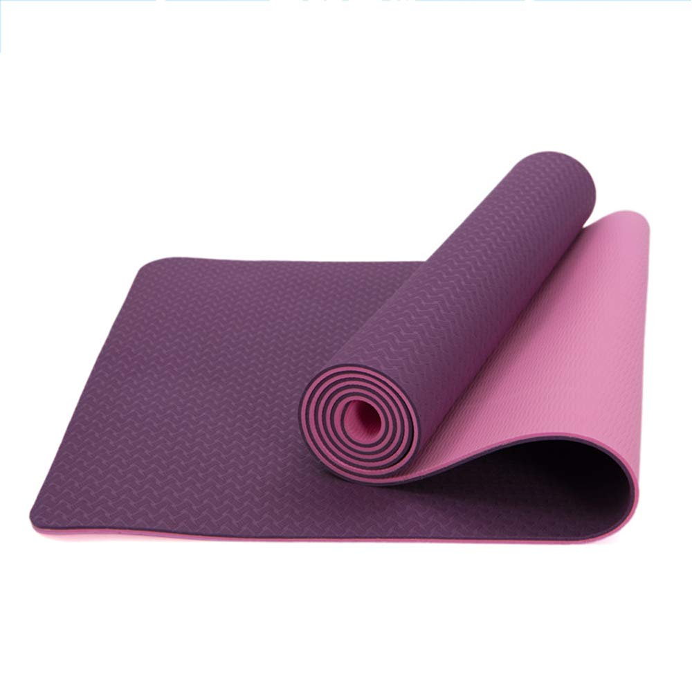 LS-Exercise Fitness Yoga Mat-TPE Anti-Skid Beginner Equipment Men and Women Yoga Fitness Multi-Purpose Mat [Four Colors Optional] 183 61cm Thick 6mm / 8mm &