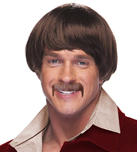 Brown 60's Hippie Sonny Bono Wig and Mustache Costume Set for Men -