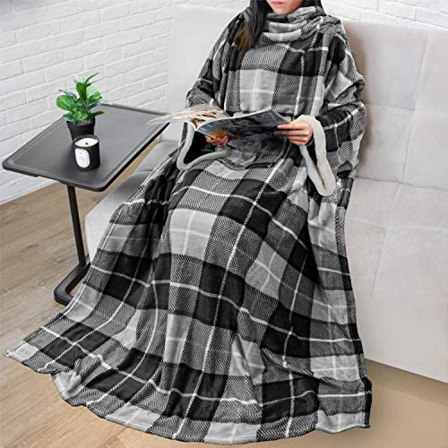 PAVILIA Deluxe Fleece Blanket with Sleeves for Adult, Men, and Women| Elegant, Cozy, Warm, Extra Soft, Plush, Functional, Lightweight Wearable Throw (Plaid Charcoal)