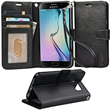 Galaxy S6 case,Samsung Galaxy S6 wallet case,Arae [Wrist Strap] Flip Folio [Kickstand Feature] PU leather wallet case with ID&Credit Card Pockets For Galaxy S6,black