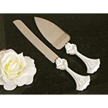 Wedding Favors Bride and Groom with Calla Lily Bouquet Cake and Knife Set