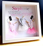 Personalized Name Origin and Meaning Baby Gift Paper Origami Shadowbox Frame with Ballerina Tutus Custom Newborn Baby Shower Girl Gift