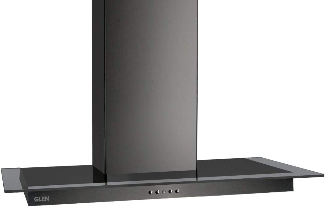 Glen 60cm 1000 m³/h Designer Hood Glass Chimney (6062,Push Button Control with 2 Baffle Filter, Black)
