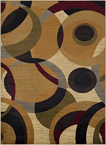 (Tiwari Home 2' x 3' Brown and Red Geometrical Rectangular Area Throw Rug)