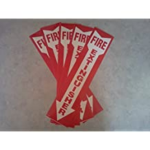 """Vinyl Self-adhesive Fire Extinguisher Arrow Sign - 4"""" X 18"""" (Pack of 5)"""