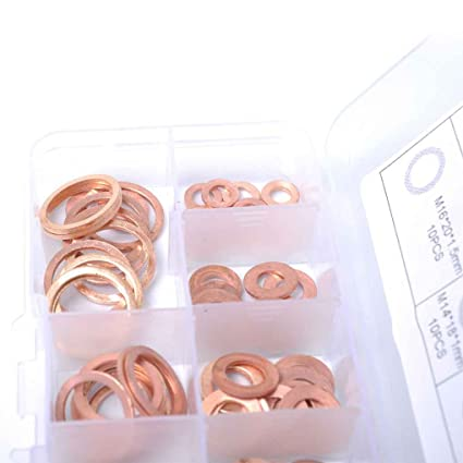 fgyhtyjuu 80PCS Solid Copper Crush Washers Spacer Flat Ring Oil Brake Sealing Kit M5//M6//M8//M10//M12//M14//M16//M20 Assorted 8 Sizes Gaskets