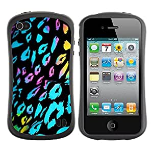 LASTONE PHONE CASE / Suave Silicona Caso Carcasa de Caucho Funda para Apple Iphone 4 / 4S / ultraviolet fur leopard pattern black blue