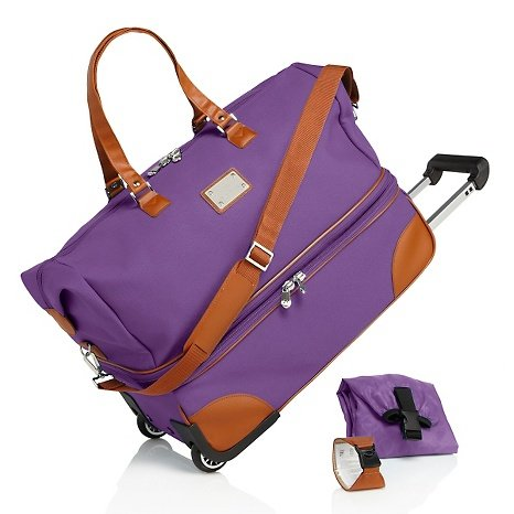 Joy Mangano St. Barts Canvas Chic Double Decker Duffle - PURPLE (Joy Mangano St Barts Canvas Chic Collection)