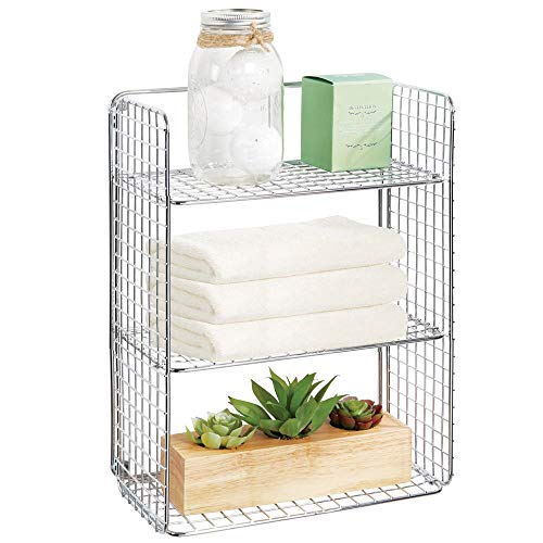 mDesign Tall Metal Wire Farmhouse Wall Decor Storage Organizer Shelf with 3 Levels for Bathroom, Entryway, Hallway, Mudroom, Bedroom, Laundry Room - Wall Mount - Chrome (Chrome Accent Wall Mount)