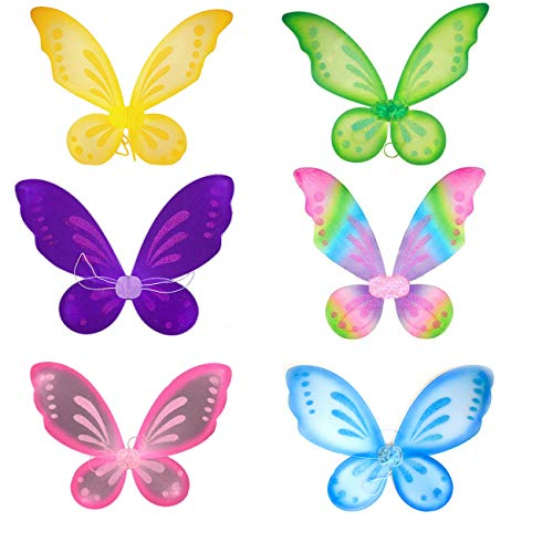 Dushi Butterfly Fairy Wings Dress Up Wings Party Favor Accessory Girls Fairy Wing 6 PACK ()