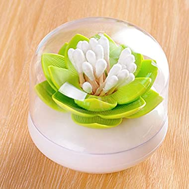 Zapire Lotus Swab Toothpick Holder Flower Shape Q tips Holder Swab Cosmetic Storage Organizer (Green)