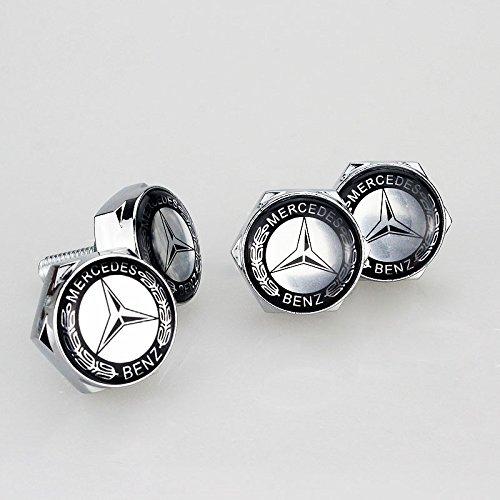 Logo License Plate Bolt - TKXT 4 Pcs Separate Zinc alloy Logo License Plate Frame Bolt Screws Fastener For Mercedes-Benz(Black)