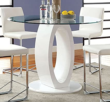 Amazon Com Lodia White Counter Height Table W Glass Top By