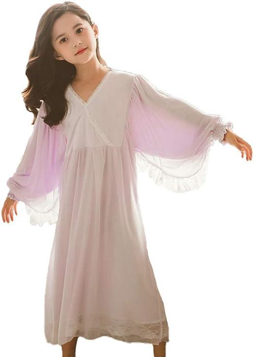 YAOXI camisón de Encaje para niñas, Camisones de algodón Suave, Pijama de Princesa de Invierno de Manga Larga, Estilo Victoriano, niños de 6 a 14 años, algodón, Morado, 130 cm: Amazon.es: Hogar