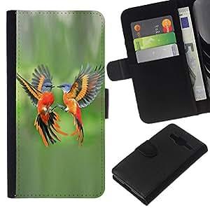 All Phone Most Case / Oferta Especial Cáscara Funda de cuero Monedero Cubierta de proteccion Caso / Wallet Case for Samsung Galaxy Core Prime // verde aves tropicales naranja pluma de vuelo