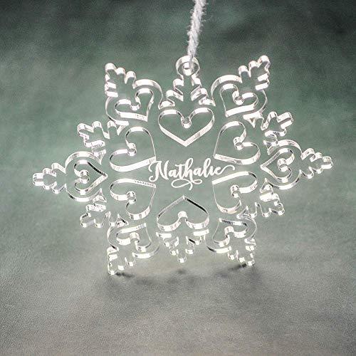 PERSONALIZED ACRYLIC SNOWFLAKE Ornaments // Christmas Tree Decoration - Custom Christmas Snowflake - Personalized Laser Cut Ornament ()