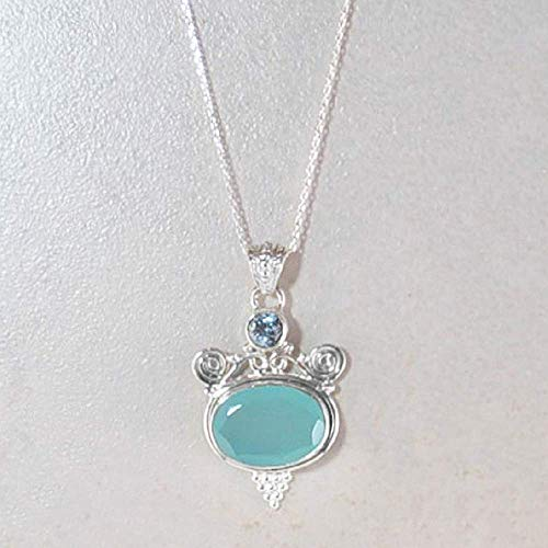 (Sivalya TANTRA Peruvian Opal Pendant Necklace in 925 Sterling Silver)