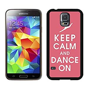 Cool Samsung Galaxy S5 Case Keep Calm And Dance Pink Background Durable Soft TPU Black Phone Cover Kimberly Kurzendoerfer